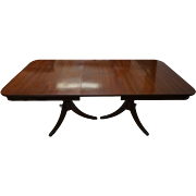 Duncan Phyfe Mahogany Double Pedestal Dining Table with Leaves