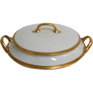 Limoges Gold Rimmed Greek Key Tureen by Old Abbey