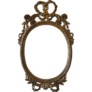 Antique Hand Carved Italian Floral Bow Oval Mirror-Milch & Sons