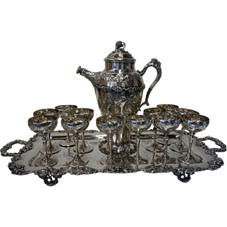 Webster & Son Grape Motif Silver Martini Set with Tray