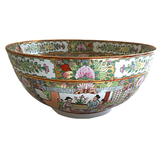 "Vintage Chinese Rose Canton 14"" Porcelain Bowl"