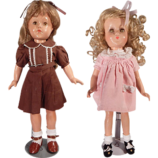 Lot of two cute Composition dolls for parts/repair.