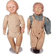 Two Campbell Soup type Cloth and composition Dolls for Restoration.