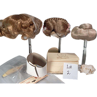 Boxlot of Three Pretty synthetic Wigs for Doll making and repair