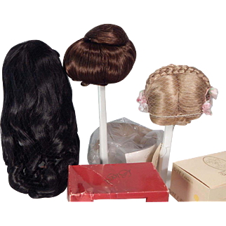 Nice Box Lot of three Synthetic doll wigs for doll making or repair.