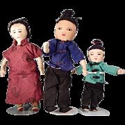 Family of Three Asian Rag Dolls