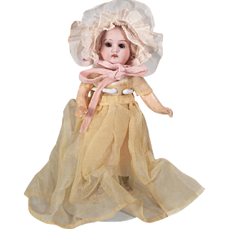 Tiny German Bisque and Composition doll