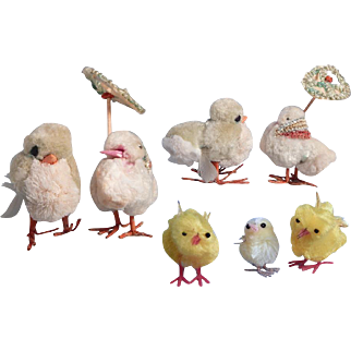Cute Lil' family of vintage fluffy Easter chicks