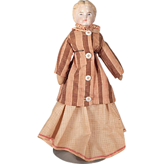 Sweet Early Papier Mache doll on original body