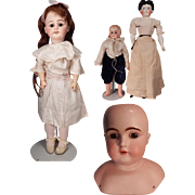 Bargain lot of four German bisque dolls for parts or repair