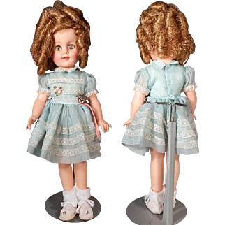 """Very Nice 15"""" Vinyl Ideal Shirley Temple with original dress, pin"""