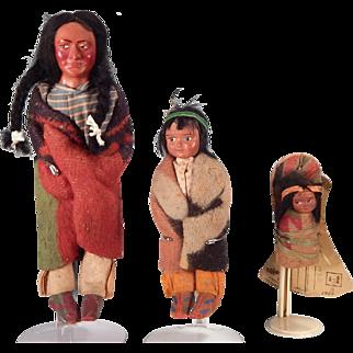 Family of Cute older Skookum dolls