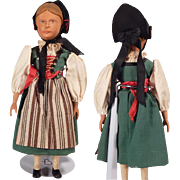 Darling Swiss made  Carved wooden doll.