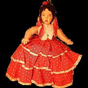 "Vintage 10"" cloth topsy  turvy doll."