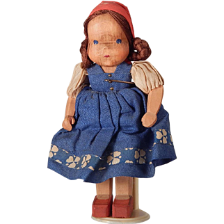 Little Wooden Doll dressed as a Dutch girl.