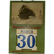 "1930's-40""s Missouri Pacific Lines Railroad Perpetual Calendar Steam Engine 6615"