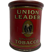 Vintage Union Leader Smoking Tobacco Tin Humidor