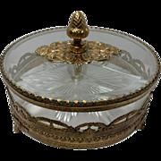 Vintage Gold Covered Filigree Vanity Dish
