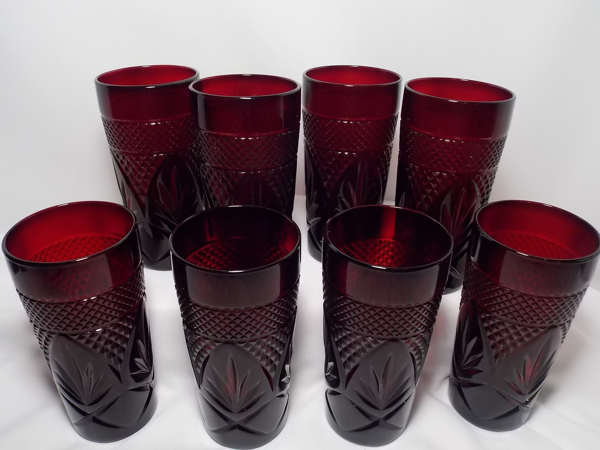 Vintage cristal d 39 arques durand ruby red water tea glasses for Arc decoration arques