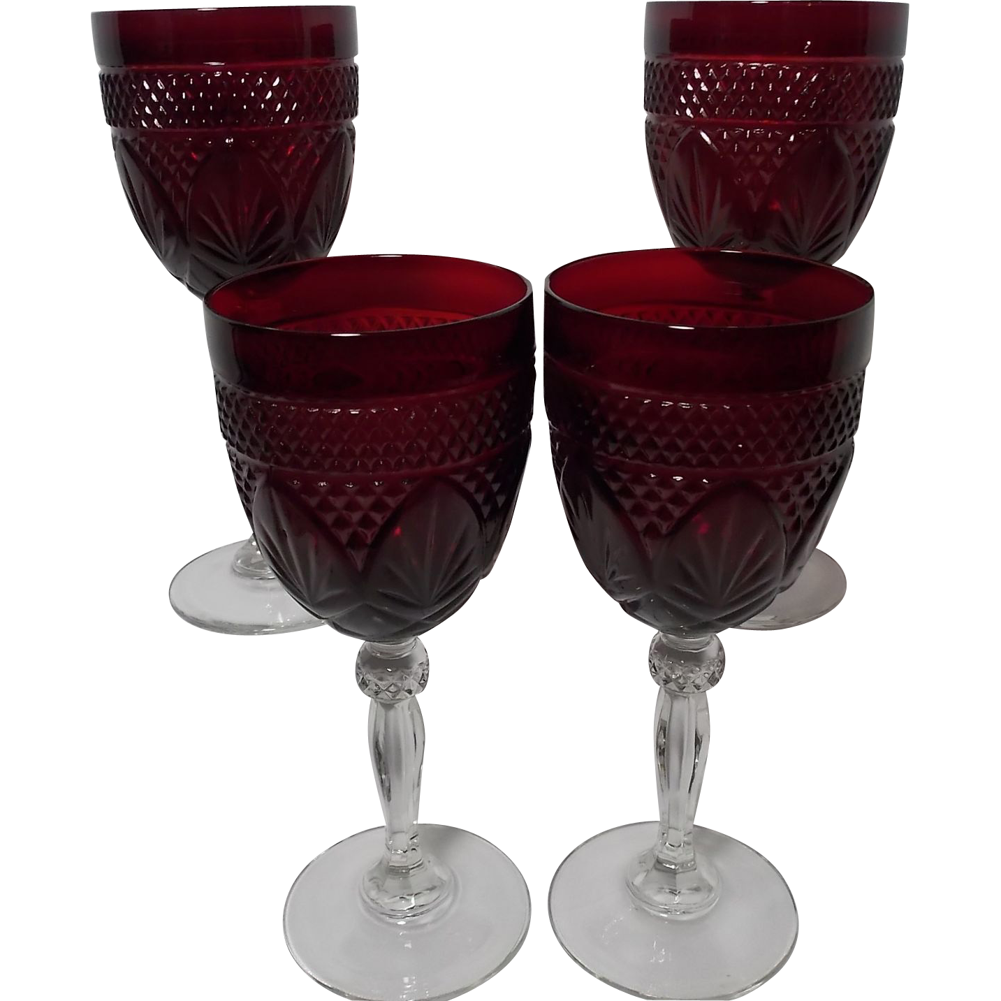 Vintage cristal d 39 arques durand ruby red wine stemmed for Arc decoration arques