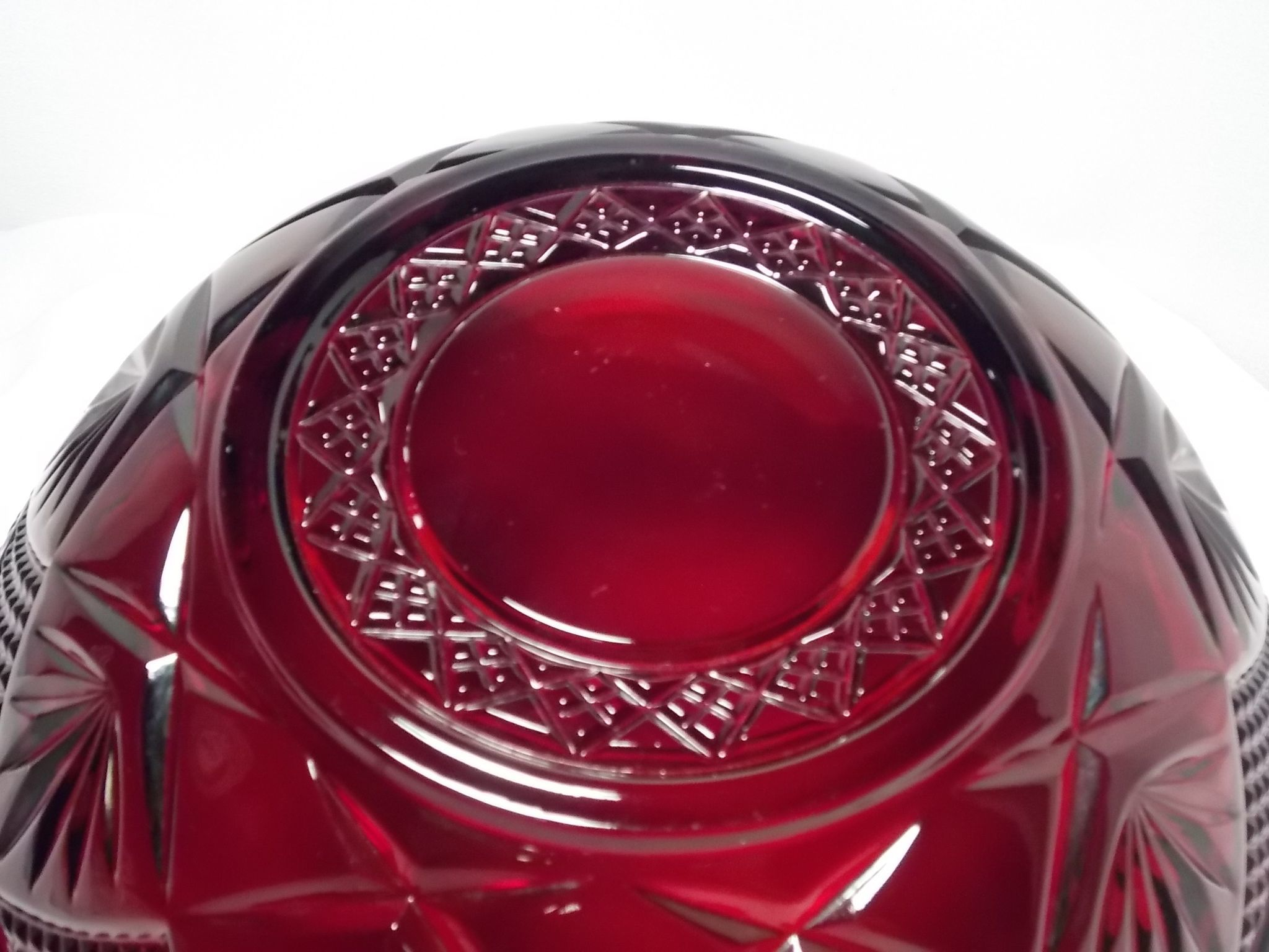 Vintage cristal d 39 arques durand large ruby red serving for Arc decoration arques