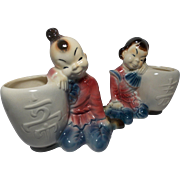 Vintage Royal Copley Boy and Girl Leaning on Urns Planters