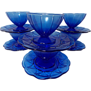 Vintage Cobalt Blue Hazel Atlas Newport (Hairpin) Sherbets and Under plates