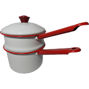 Vintage White and Red Enamelware Double Boiler