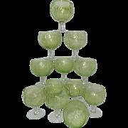 Vintage Sigma Taste Setter Green Cabbage Leaf Water/Shrimp Cocktail Glasses