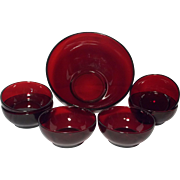 Vintage Anchor Hocking Royal Ruby Red Punch Bowl &Ruby Red Salad Bowls