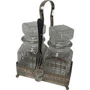 Vintage Made in England Pickle Tantalus (carrier) With two Hob Nail Decanters