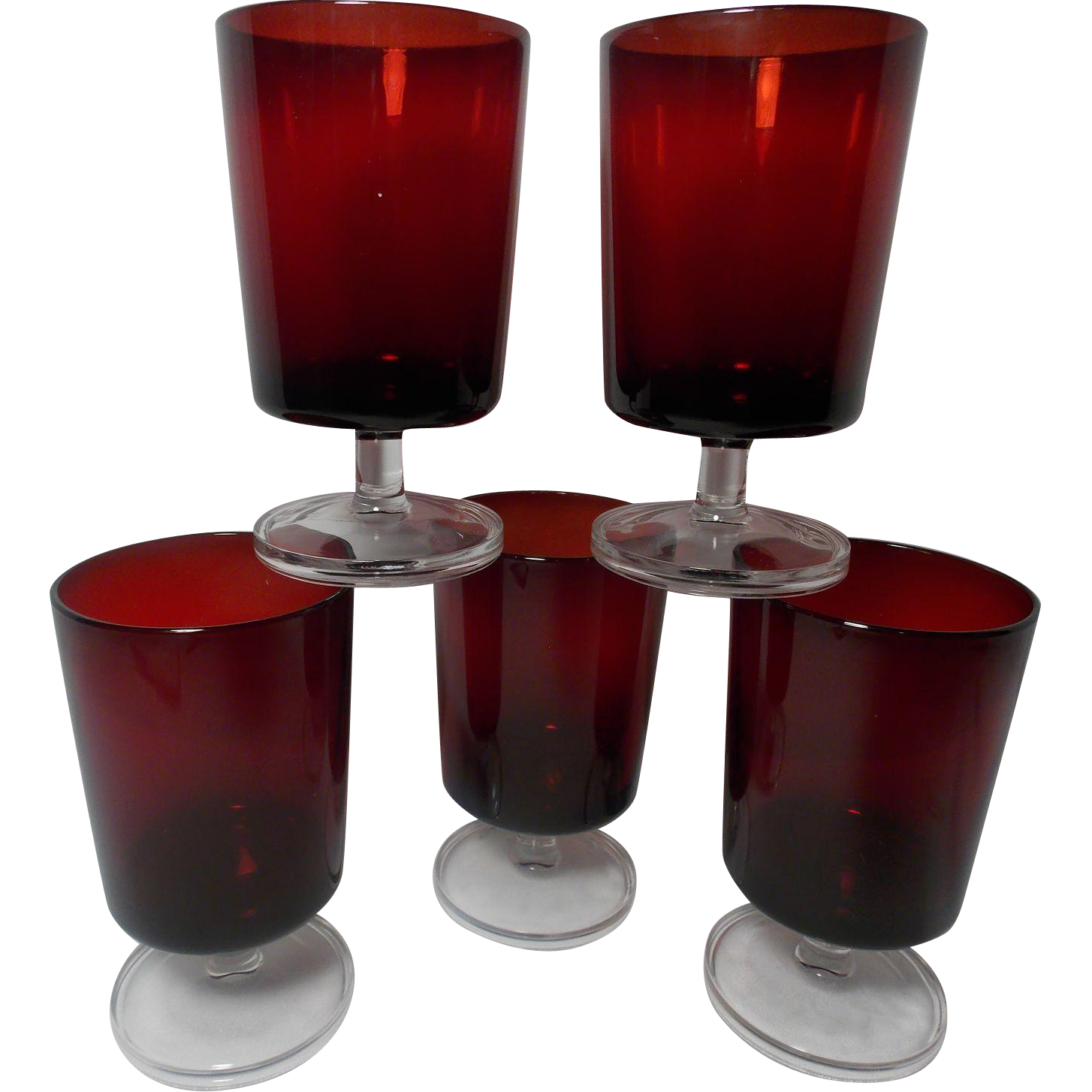 Vintage Set Of 5 Made In France Luminarc Water Glasses