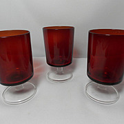 Vintage Set 3 Made in France Luminarc Small Wine Glasses
