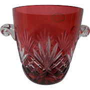 Vintage Ajka Ruby Red Cut to Clear Ice Bucket