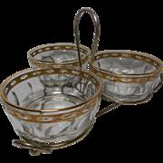 Vintage Culver Glass 4 Piece Snack Service