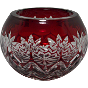 Vintage Romanian Ruby Red Cut to Clear Votive Candle Holder by Godinger