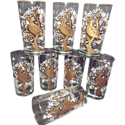 Vintage Libbey Crown Collection Partridge in a Pear Tree Set of 8 Christmas Holiday Glasses