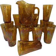 Vintage Amber Marigold Indiana Harvest Grape Carnival Pitcher and 12 Water Glasses