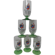 Vintage Set of 6 Wolker Beer Glasses from German Early 60's