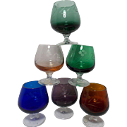 Vintage Colored Etched Pedestal Cordial Glasses