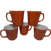 1970 Burnt Orange Pyrex by Corning Coffee Cup Mugs