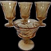 Vintage Fostoria  Jamestown Honey Amber Stemware (3 stems & 1 sherbet)