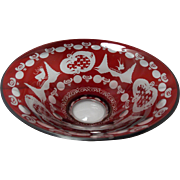 Vintage Beautiful Cut to Clear Ruby Red Bohemian Bowl