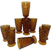 Iconic Vintage Indiana Glass Amber Whitehall Tea Glasses (Set of 11)
