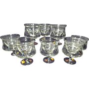 Vintage Blefeld Pasabahce 2 Piece Etched Crystal Icer-Chiller & Liner (Set of 8)