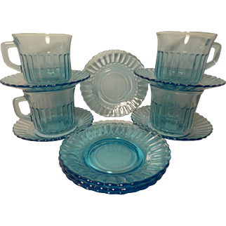 Vintage Fortecrisa Glass Azure Ice Blue Saucers (8) and Cups (4)