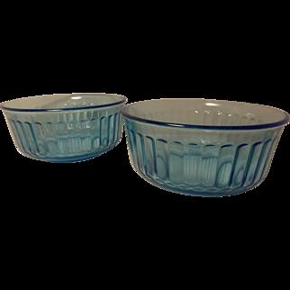 Vintage Fortecrisa Glass Azure Ice Blue Bowls (set of 2)