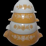 Vintage Corning Pyrex Butterfly Cinderella Gold Nesting Mixing Bowl Set