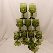 Kings Crown Green Thumbprint Goblets