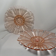 Pair of Pink Old Café Candy Dishes